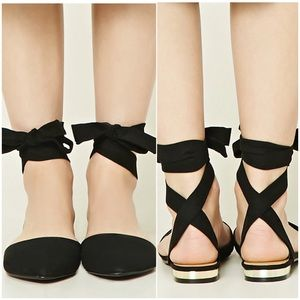 Forever 21 Strappy Faux Suede Flats